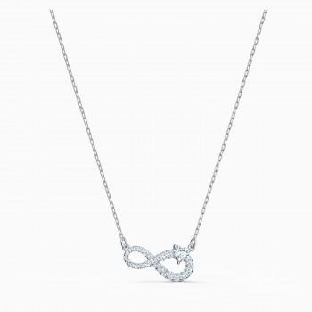Swarovski Infinity, Λευκό, Επιροδιωμένο, 5520576 κολιέ Swarovski, τιμές, ποικιλία σχεδίων, προσφορές