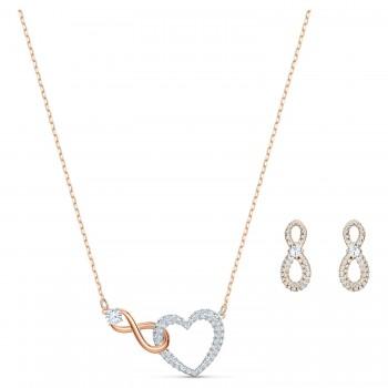Swarovski Infinity Heart Set, Λευκό, Φινίρισμα Μικτού Μετάλλου, 5521040 κολιέ Swarovski, τιμές, ποικιλία σχεδίων, προσφορές