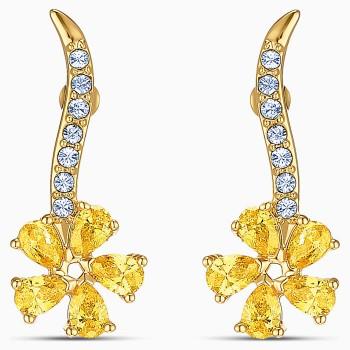 Swarovski Botanical Flower Pierced, Κίτρινα, Επιχρυσωμένα, 5535796 κοσμήματα σκουλαρίκια Swarovski, τιμές, ποικιλία σχεδίων, προσφορές