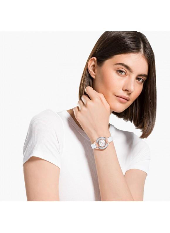 Swarovski Crystalline Sporty, Leather Strap, White, 5547635 ρολόι SWAROVSKI, τιμές, ποικιλία σχεδίων, προσφορές