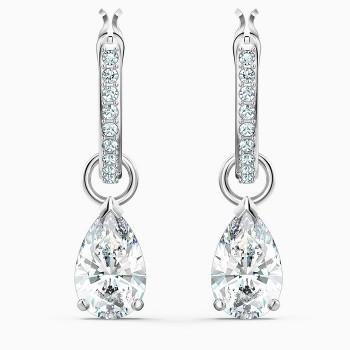 Swarovski Attract Pear Mini Hoop Pierced Earrings, White, 5563119 κοσμήματα σκουλαρίκια Swarovski, τιμές, ποικιλία σχεδίων, προσφορές