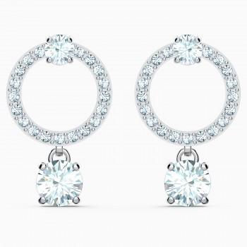 Swarovski Attract Circle Pierced, Λευκά, Επιροδιωμένα, 5563278κοσμήματα, σκουλαρίκια Swarovski, τιμές, ποικιλία σχεδίων, προσφορές