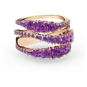 Δαχτυλίδι Twist Wrap, Μωβ, Επιχρυσωμένο σε ροζ χρυσαφί απόχρωση, 5572714 κοσμήματα, δαχτυλίδι Swarovski, ποικιλία σχεδίων, τιμές, προσφορές