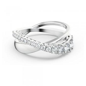 Δαχτυλίδι Twist Rows, Λευκό, Επιροδιωμένο, 5572718 κοσμήματα, δαχτυλίδι Swarovski, ποικιλία σχεδίων, τιμές, προσφορές