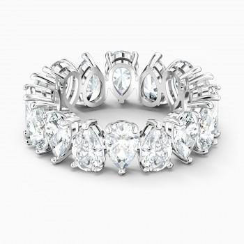 Swarovski Vittore Pear , Λευκό, Επιροδιωμένο, 5563966 δαχτυλίδι Swarovski, ποικιλία σχεδίων, τιμές, προσφορές