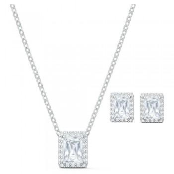 Swarovski Σετ Angelic, Λευκό, Επιροδιωμένο, 5579842 κολιέ Swarovski, τιμές, ποικιλία σχεδίων, προσφορές
