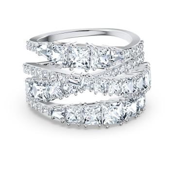 Δαχτυλίδι Twist Wrap, Λευκό, Επιροδιωμένο, 5584650 κοσμήματα, δαχτυλίδι Swarovski, ποικιλία σχεδίων, τιμές, προσφορές