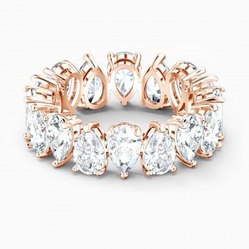 Swarovski Vittore Pear, Λευκό, Επιχρυσωμένο σε ροζ χρυσαφί απόχρωση, 5585425 δαχτυλίδι Swarovski, ποικιλία σχεδίων, τιμές, προσφορές