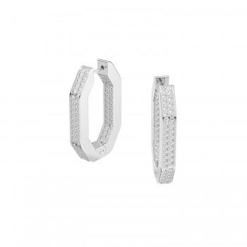 Swarovski Dextera Hoop, Λευκά, Επιροδιωμένα, 5618308 κοσμήματα σκουλαρίκια Swarovski, τιμές, ποικιλία σχεδίων, προσφορές