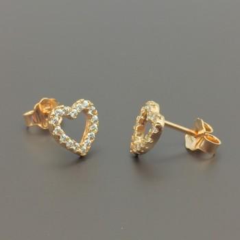 Σκουλαρίκια ροζ χρυσό καρδιές