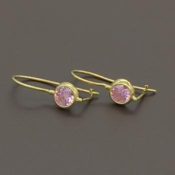 Σκουλαρίκια με ροζ ζιργκόν