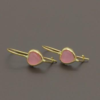 Παιδικά σκουλαρίκια με ροζ καρδιές