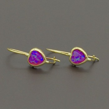 Παιδικά σκουλαρίκια με μωβ καρδιές