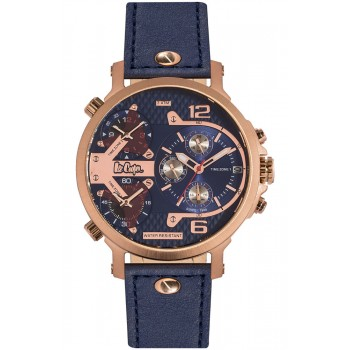 Lee Cooper Multifunction Blue Leather Strap LC06367.499