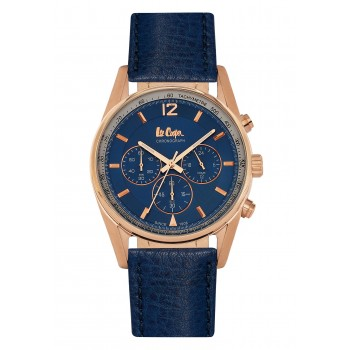 Lee Cooper Chronograph Rose Gold Case With Blue Leather Strap LC06515.499