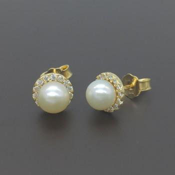Χρυσά σκουλαρίκια με μαργαριτάρι